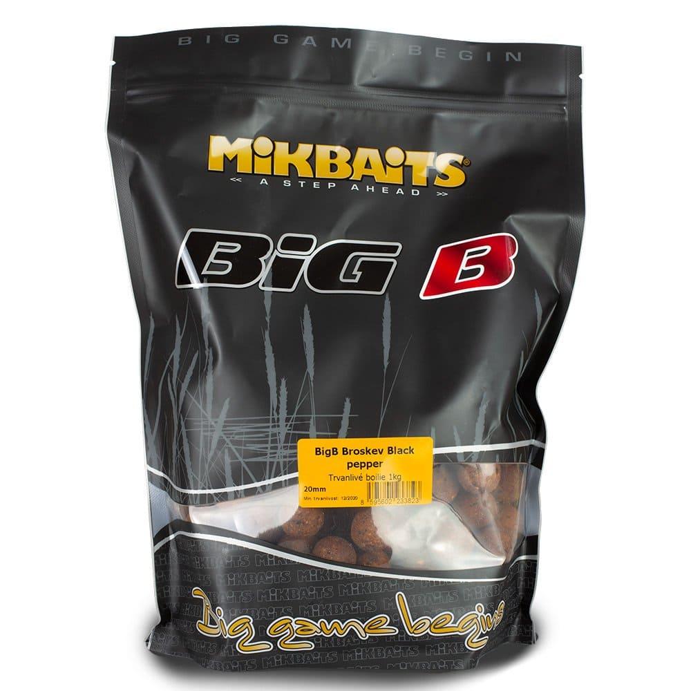 Mikbaits boilie Legends BigB Broskev Black Pepper