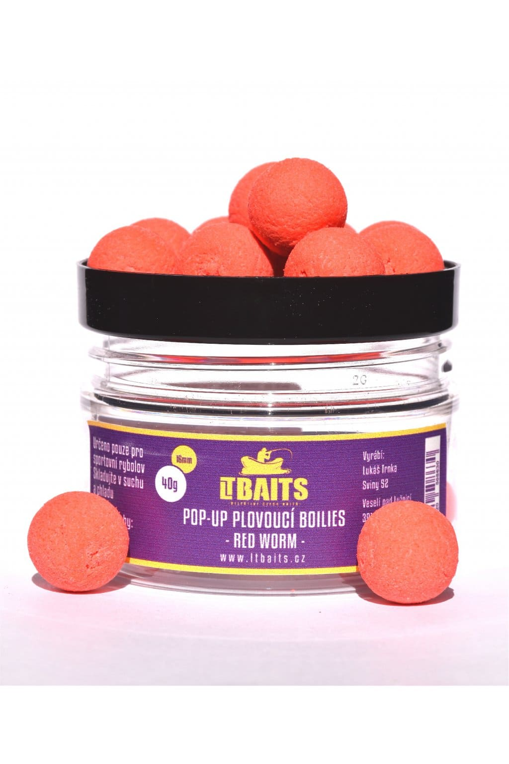 LT Bait Pop Up Boilies Red Worm 40g